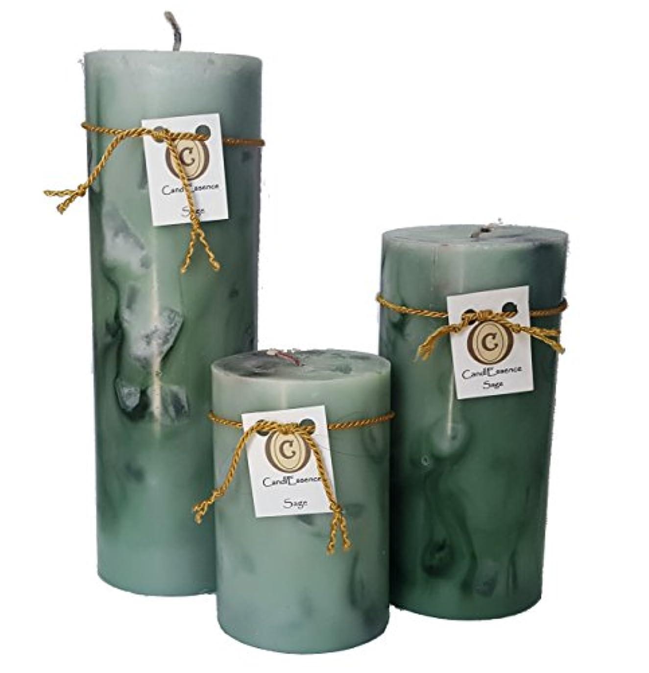 相談する追うコークスハンドメイドScented Candle – Long Burningピラー – セージ香り Set of 3 グリーン SAGE