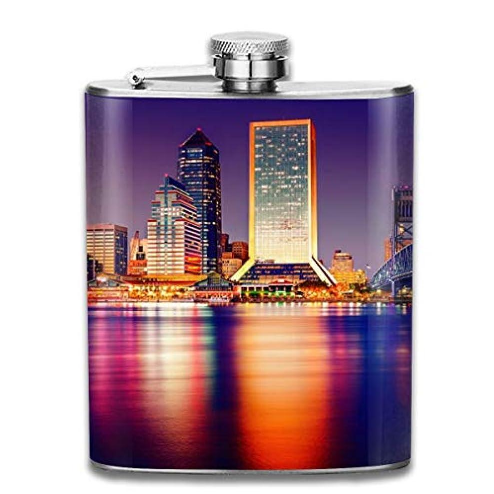 測る抵抗するただやるブルームン 酒器 酒瓶 お酒 フラスコ 市 夜景 ボトル 携帯用 フラゴン ワインポット 7oz 200ml ステンレス製 メンズ U型