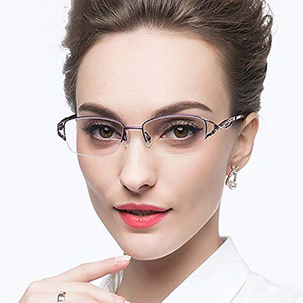 女性のための老眼鏡 青い光反 まで、デュアル使用近く スマートな読者 黒の眼鏡ケースと 軽量 ファッション-紫色 +2.0