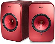 KEF Wireless Speakers with Airplay 2, WiFi and Bluetooth (SP3994AX) (LSX Wireless Speakers, Speaker Pair, Red)