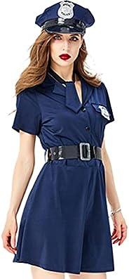 コスプレ 衣装 ポリス コスチューム 仮装 レディース ワンピース ミニスカート 紺 帽子 手錠