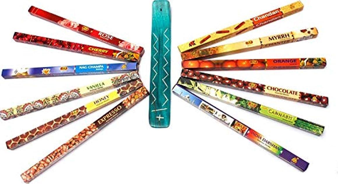 不適南西研磨ミルラ、サンダルウッド、NAGのチャンパ、フランキンセンス、ラベンダー、大麻、バニラ、および他、SPAR-OFFER:Luxflair香はスティックホルダーincl.incense 12のフレグランススティック