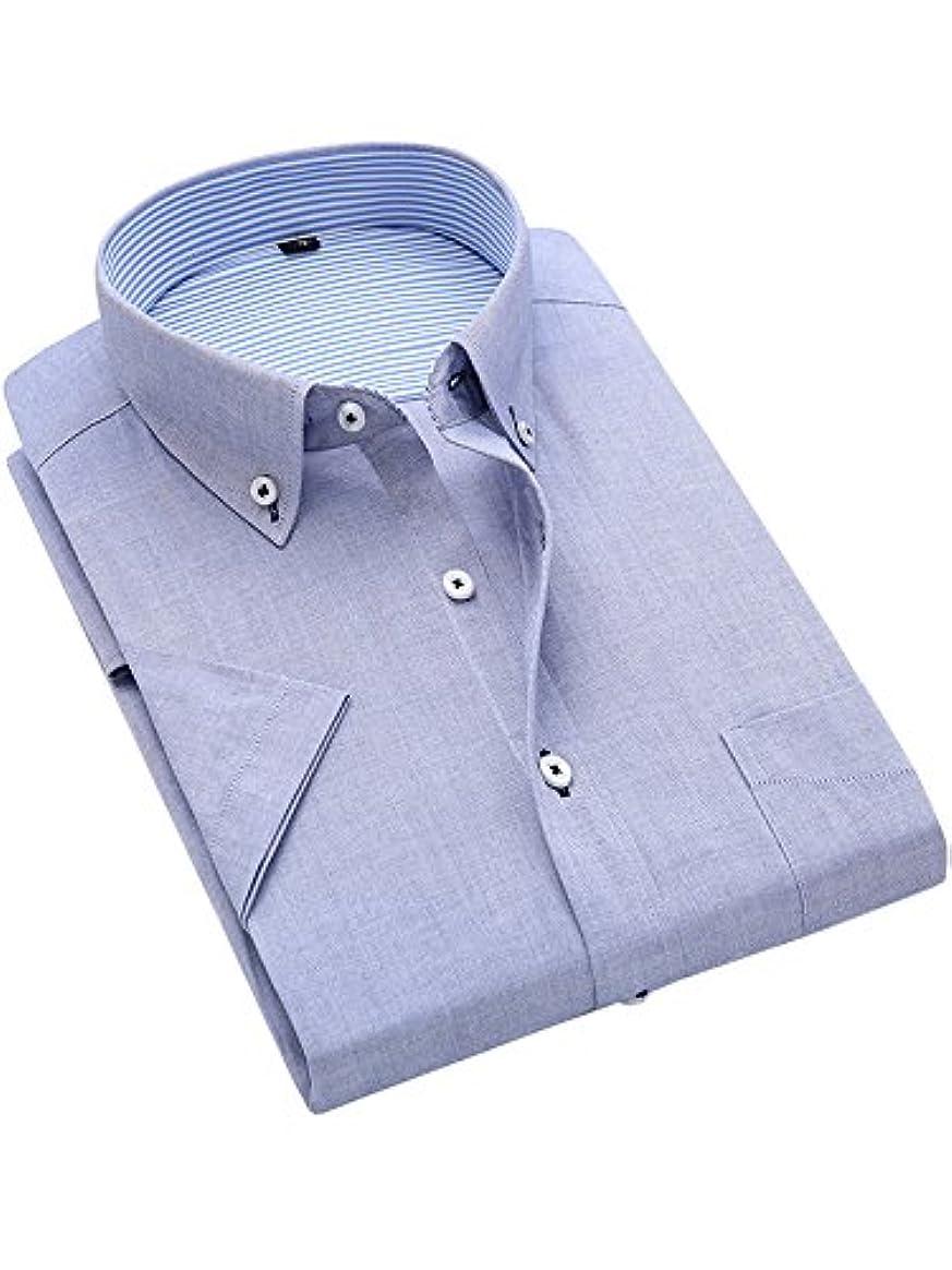 シリアル重大死ぬ(ワイ-ミー)Y-ME ワイシャツ/ビジネスシャツ/スリム/タイト/細身デザイン/半袖 カラーシャツ高級オックスフォード良質綿紡 形態安定 light gray 39