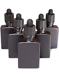 TENKU ガラス製スポイト遮光瓶【チャイルドロック付き】30ml 5本 アロマ 香水 リキッド保存用 詰替え用 マットブラック