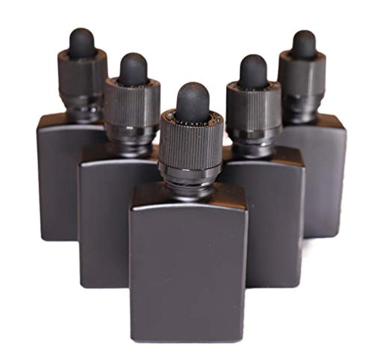 試用整然としたダーリン4 Queens ガラス製スポイト遮光瓶【チャイルドロック付き】30ml 5本セット アロマ 香水 リキッド保存用 詰め替え用 マットブラック