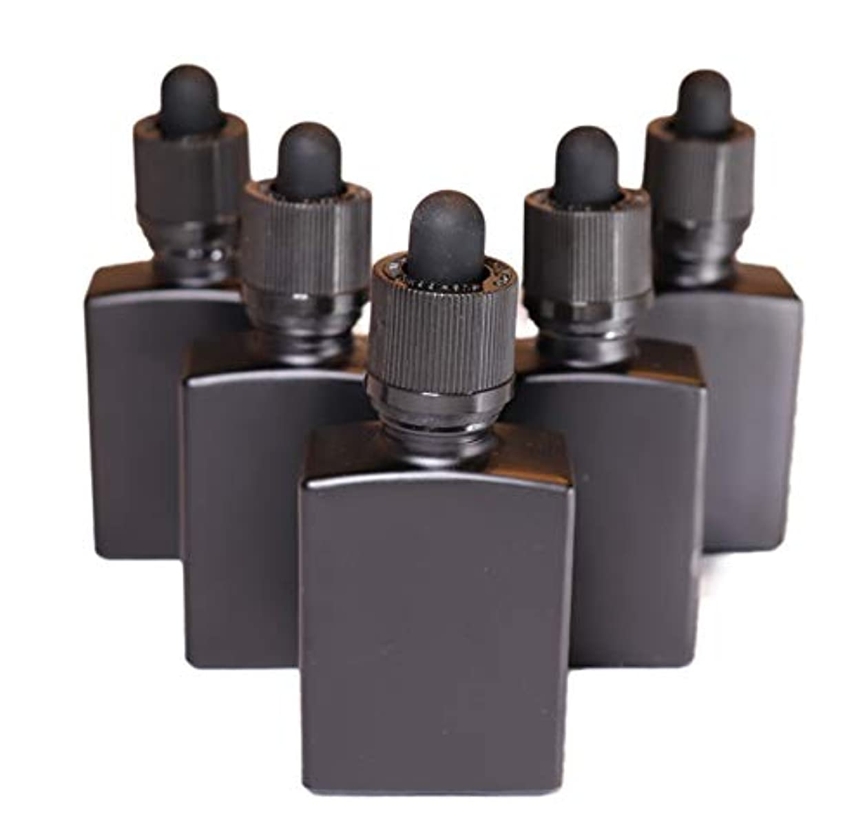 恥ずかしさ数値わずかな4 Queens ガラス製スポイト遮光瓶【チャイルドロック付き】30ml 5本セット アロマ 香水 リキッド保存用 詰め替え用 マットブラック