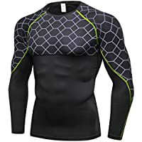 Aieoe Men Compression Shirt Quick Dry Base Layer Shirt Long Sleeve Sportswear