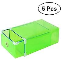 OUNONA シューズボックス 靴収納ボックス 引き出しタイプ 透明 クリア シューズケース 組立て式 靴収納 靴箱 5個入(グリーン)