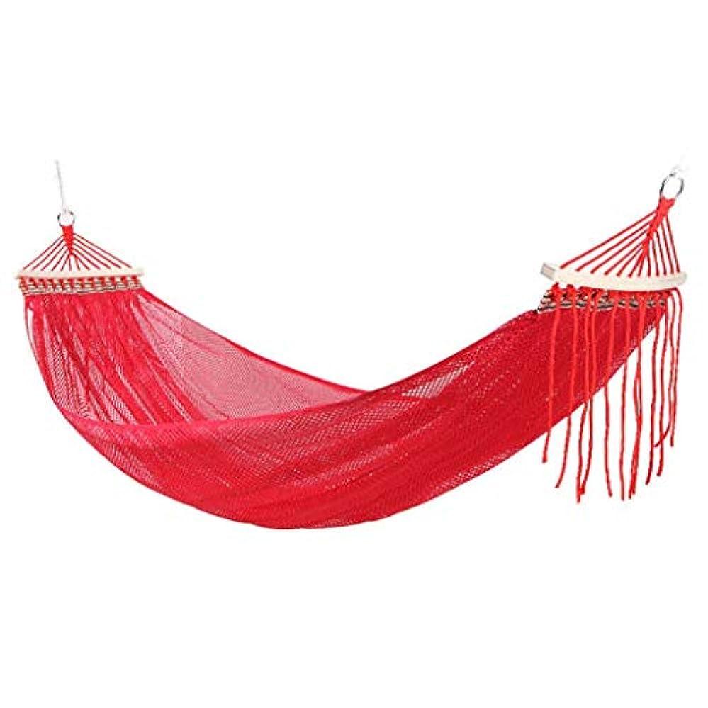 うなずく法律孤独なシングルアイスシルクハンモックスイング屋外ダブルメッシュ大人子供寝椅子メッシュメッシュ通気性 (色 : 赤, サイズ さいず : 190cm×125cm)