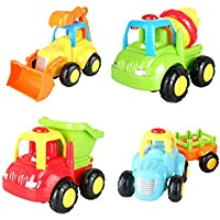VIVIDEA Singing Truck Team Set of Dump Truck, Cement Mixer, Bulldozer, Tractor with Happy Songs & Flashing Lights for Babies Toddlers Kids .