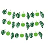 Fenteer 3 Pcs Hawaiian Tropical Party Decorations Tropical Leaves Bunting Garland for Summer Party Luau Decor