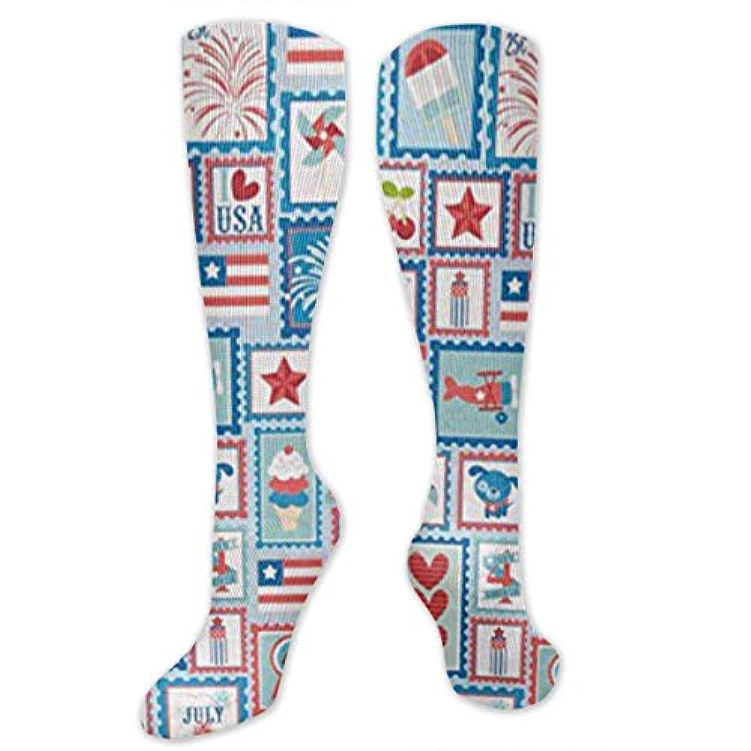 マーベルしてはいけない保護する靴下,ストッキング,野生のジョーカー,実際,秋の本質,冬必須,サマーウェア&RBXAA Star Spangled Patchwork Stripe Blue Socks Women's Winter Cotton Long...