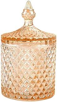 玻璃容器 儲存容器 棉盒 化妝盒 小物件收納 棉棒 玻璃罐 容器 化妝箱 玻璃制 透明收納容器 室內裝飾 帶蓋子 桌上 水晶罐 時尚(金色,L)