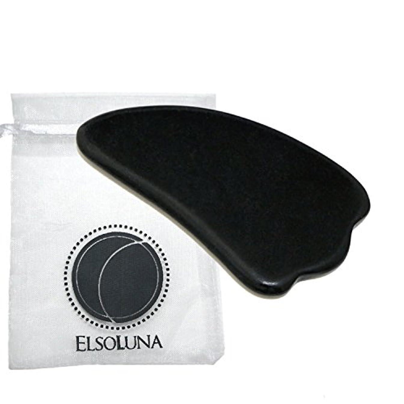 心のこもったパトロンインポートElsoluna(エルソルーナ) かっさプレート かっさマッサージ 美顔 天然石 パワーストーン (ベン石 羽根型, ブラック)