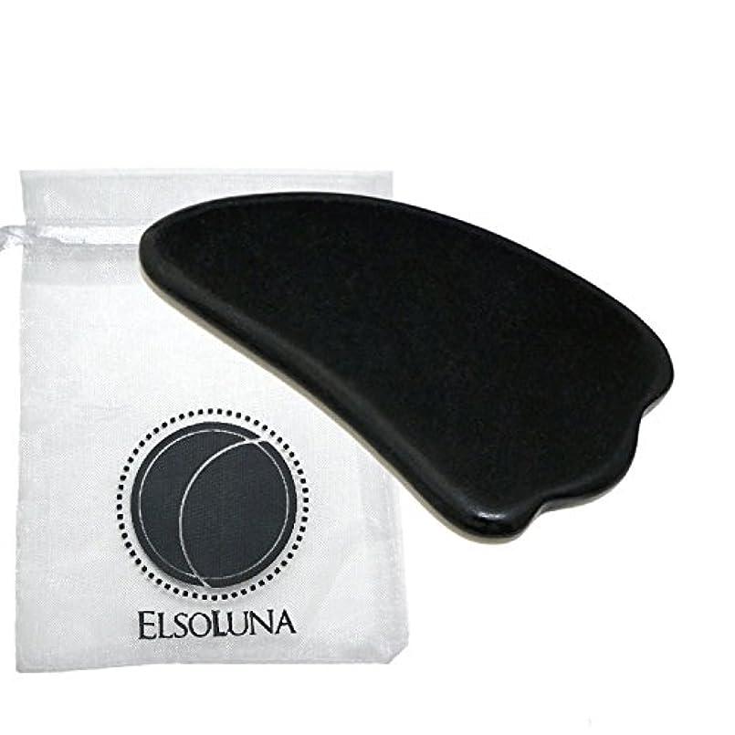 追放する熟した複合Elsoluna(エルソルーナ) かっさプレート かっさマッサージ 美顔 天然石 パワーストーン (ベン石 羽根型, ブラック)