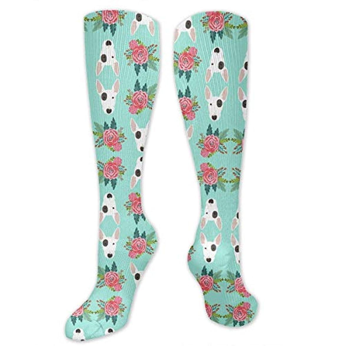 スローガン溝デコードする靴下,ストッキング,野生のジョーカー,実際,秋の本質,冬必須,サマーウェア&RBXAA Bull Terrier Floral Flowers Bull Blue Socks Women's Winter Cotton...