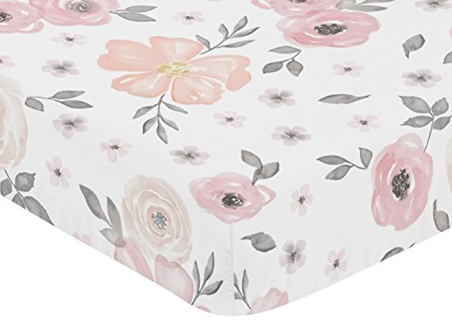 Sweet Jojo Designs Blush Pink Grey and White Baby or Toddler Fitted Crib Sheet for Watercolor Floral Collection by [並行輸入品]