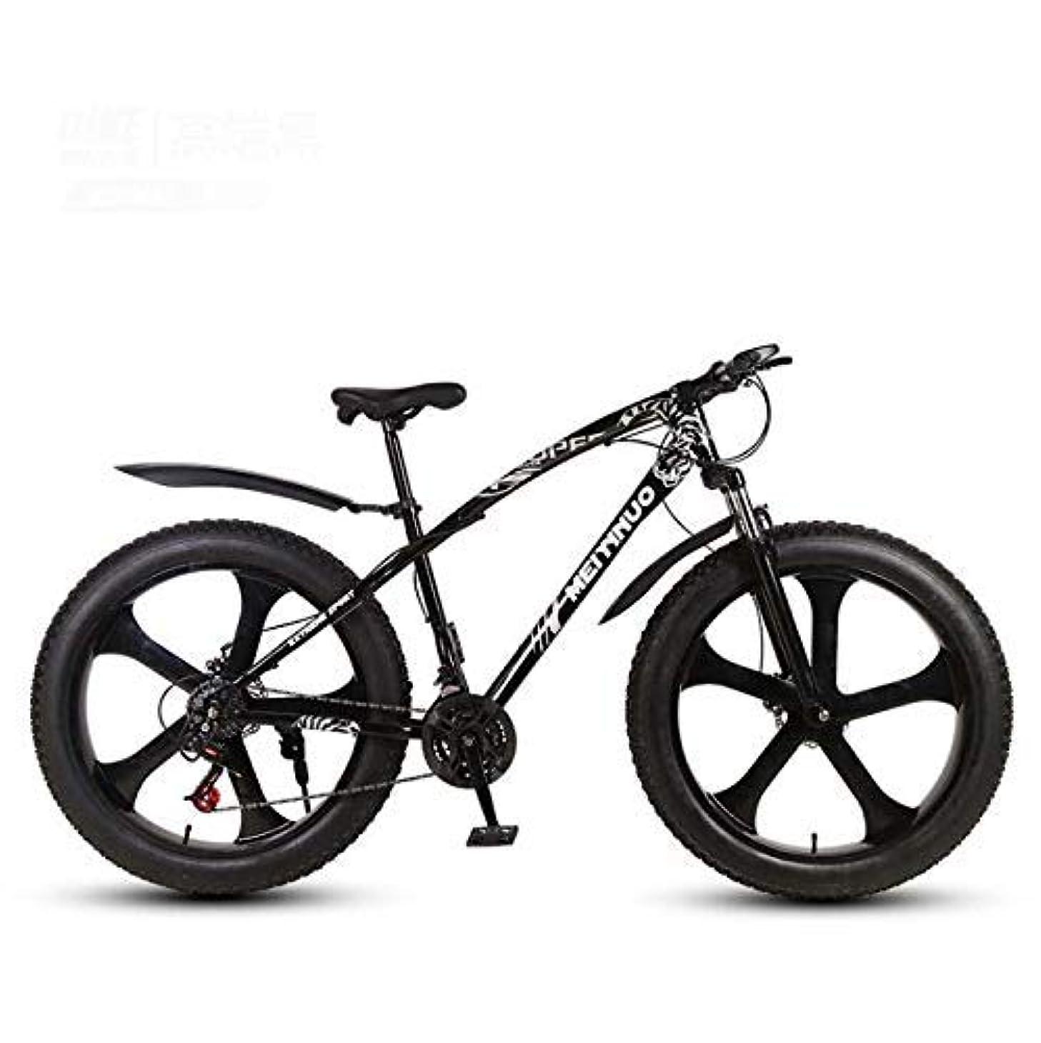 単調な読みやすさ凍ったマウンテンバイク大人用26インチ自転車、4.0インチファットタイヤMTBバイク、ハードテール高炭素鋼フレームサスペンションフォーク、ダブルディスクブレーキ
