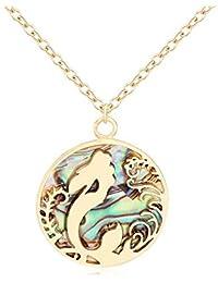 NOUMANDA Fairy Tale Charm Abalone Mermaid Sea Wave Circle Necklace Beauty Fish Jewelry
