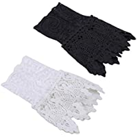 Tvoip 2Pairs White and Black Women Arm Sleeves Organ Pleated Cuff Beautiful Goddess Lace Hollow Hook Accessories Outdoor Apparel Arm Warmers