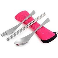 スリーインワン アウトドアキャンプ実用ステンレス鋼のスプーン箸フォーク食器セット