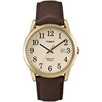 TIMEX EASY READER DATE FULL-SIZE LEATHER STRAP MEN'S WATCH