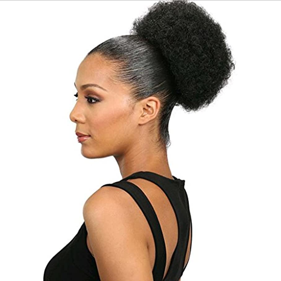 書店公演合理的JIANFU 爆発ヘッドふわふわ毛髪の拡張子カールヘアの毛の拡張子キャタピラーのかつらのサイズ選択ウィッグの部分 (Color : Natural blcak (L))
