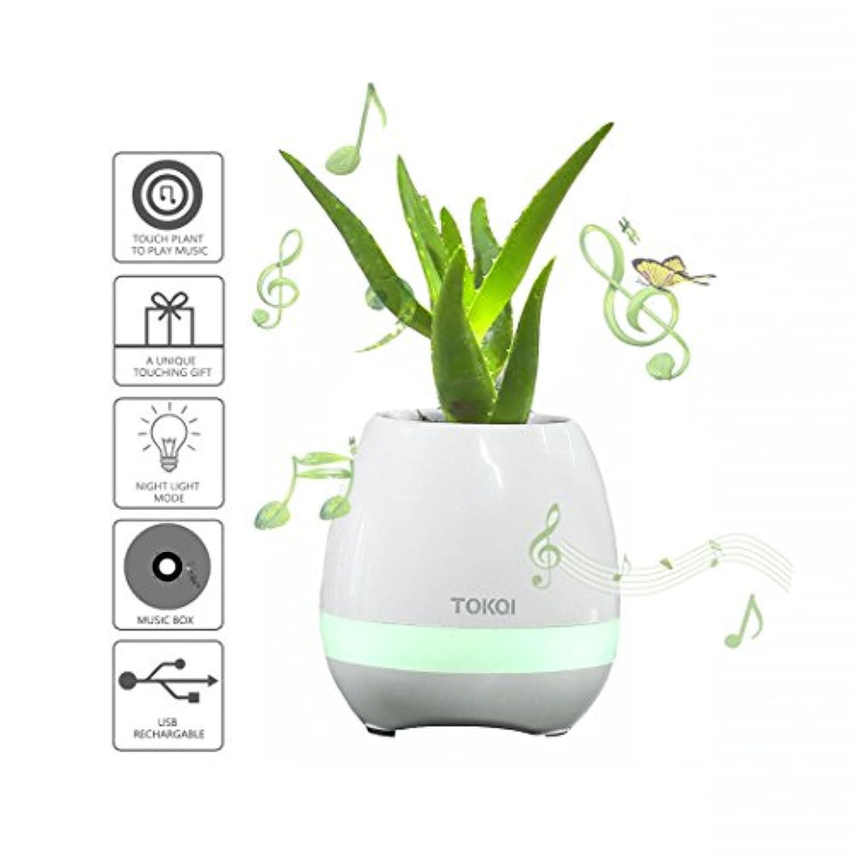 KSBスマートタッチ植物ピアノ音楽再生ライトラウンドポット、ナイトライトワイヤレスFlowerpot ( Whitout植物。 ホワイト