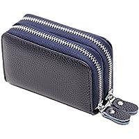 MissingY 財布 カードケース RFIDブロッキング機能 カード入れ クレジットカードケース 大容量 14枚収納 名刺入れ 定期入れ たっぷり 紙幣収納 本革 ダブルファスナー 携帯便利 男女兼用