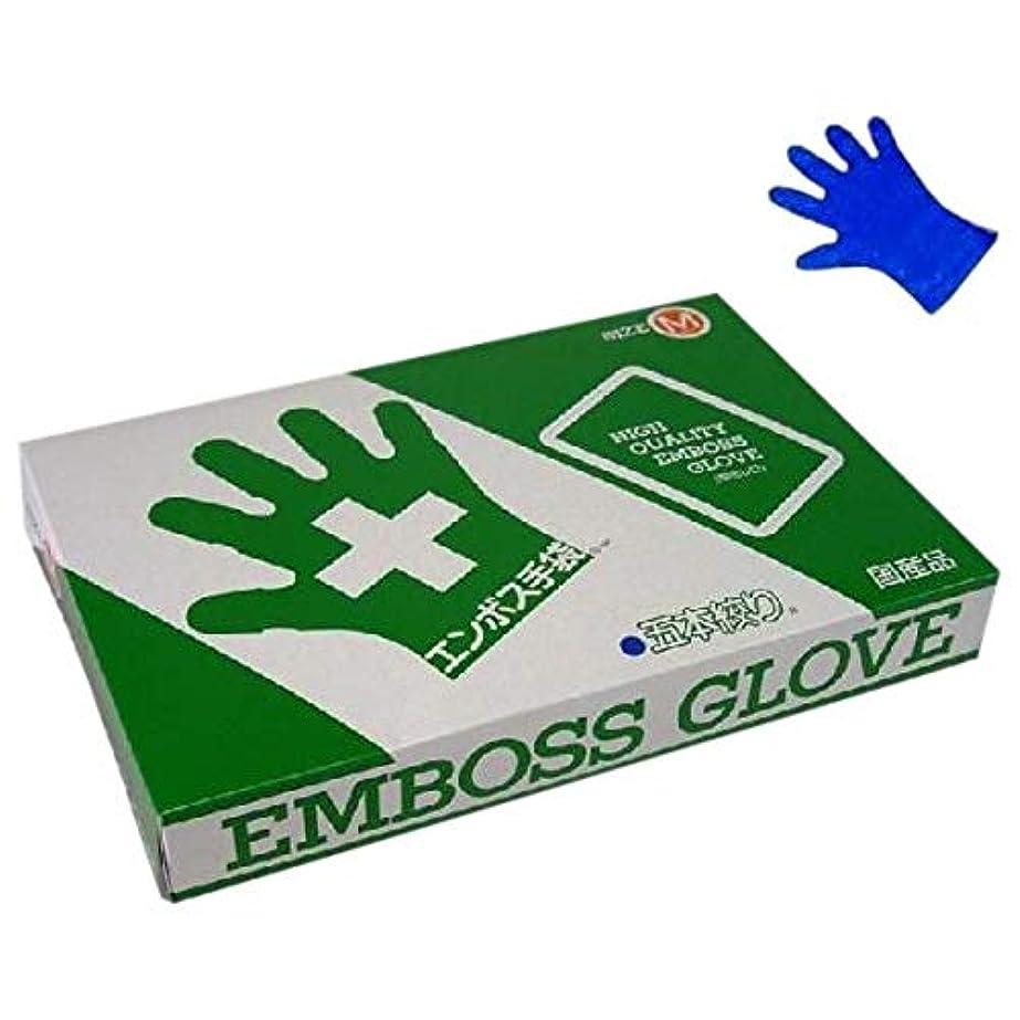 外側大量硬さエンボス手袋 5本絞り ブルータイプ 化粧箱入 東京パック M 200枚入×20箱