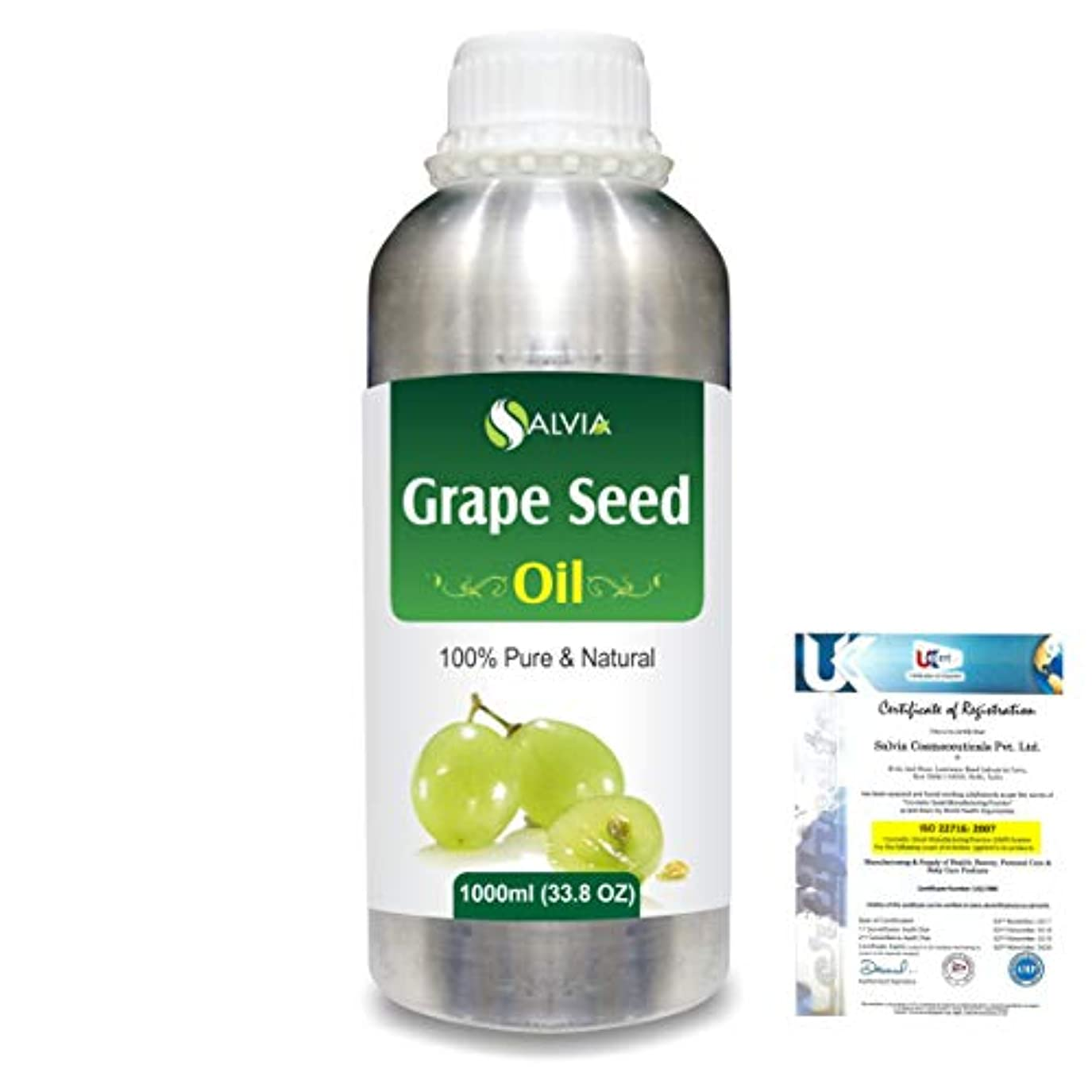 つづりサイドボード火薬Grape Seed (Vitis vinifera) 100% Natural Pure Undiluted Uncut Carrier Oil 1000ml/33.8 fl.oz.