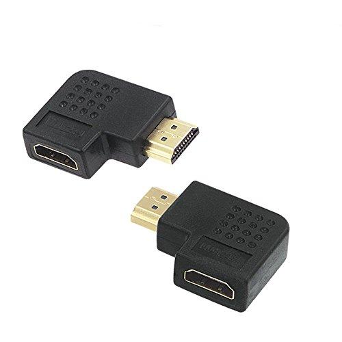 VCE【2個セット】HDMI(オス) -HDMI(メス) 変換アダプタ L字型(270度+90度) 金メッキ コネクタ