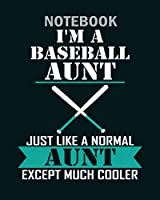Notebook: im a baseball aunt just like a normal aunt excep - 50 sheets, 100 pages - 8 x 10 inches