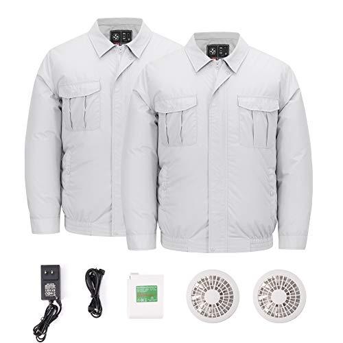 OQC 空調服 熱中症対策 2枚空調服+ファン+リチウムセット PSEバッテリー 空調服作業着 夏 作業服 長袖 ワークウェア 現場 工事