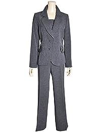 (ノーブランド品) レディース パンツスーツ 2色 9号 11号 13号 胸当て付き シャンブレー調生地