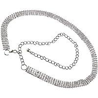 Ladies Metal Silver 5Row Crystal Rhinestone Waist Chain Bling Charm Long Belt