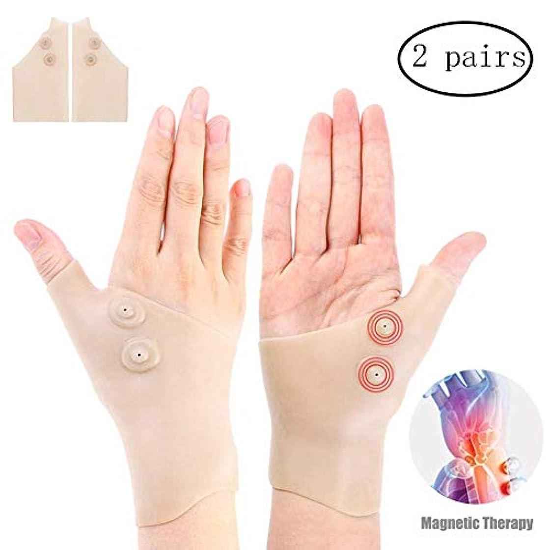 鎮痛剤パズルマエストロ関節炎の圧縮の手袋、手根管のための磁気通気性のゲルの手首の親指のブレースの苦痛救助手袋、コンピュータタイピング(2組)