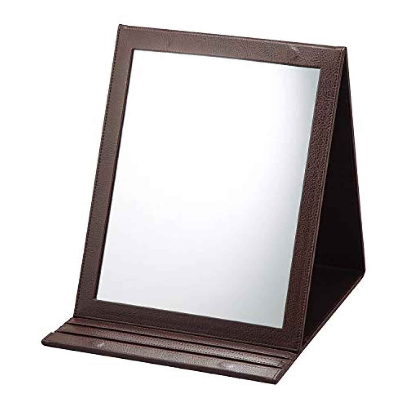 王族わかる早める折立鏡デカミラー 角度調整5段階 卓上 A4サイズ メイク 化粧 おりたたみ