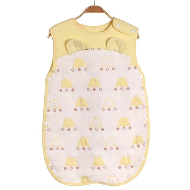 Luyusbaby 6重 ガーゼ ベビースリーパー夏パジャマ 寝袋 着用できる毛布 イエロー L