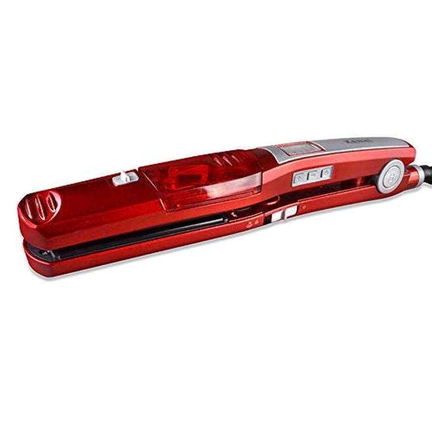 スチームヘアストレートナー、トルマリンセラミックヒーター、調節可能なガイドコーム、360°回転電源コード