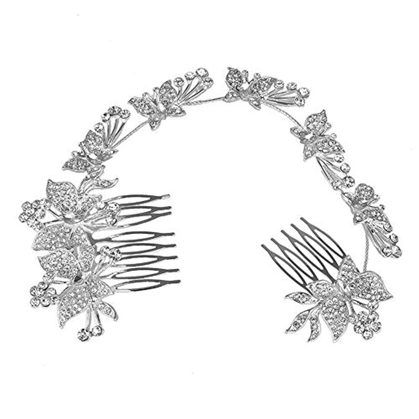 死の顎地元へこみ髪の櫛、櫛、蝶、髪の櫛、ブライダル髪の櫛、結婚式の髪の櫛、ラインストーンの櫛、ヘッドギア