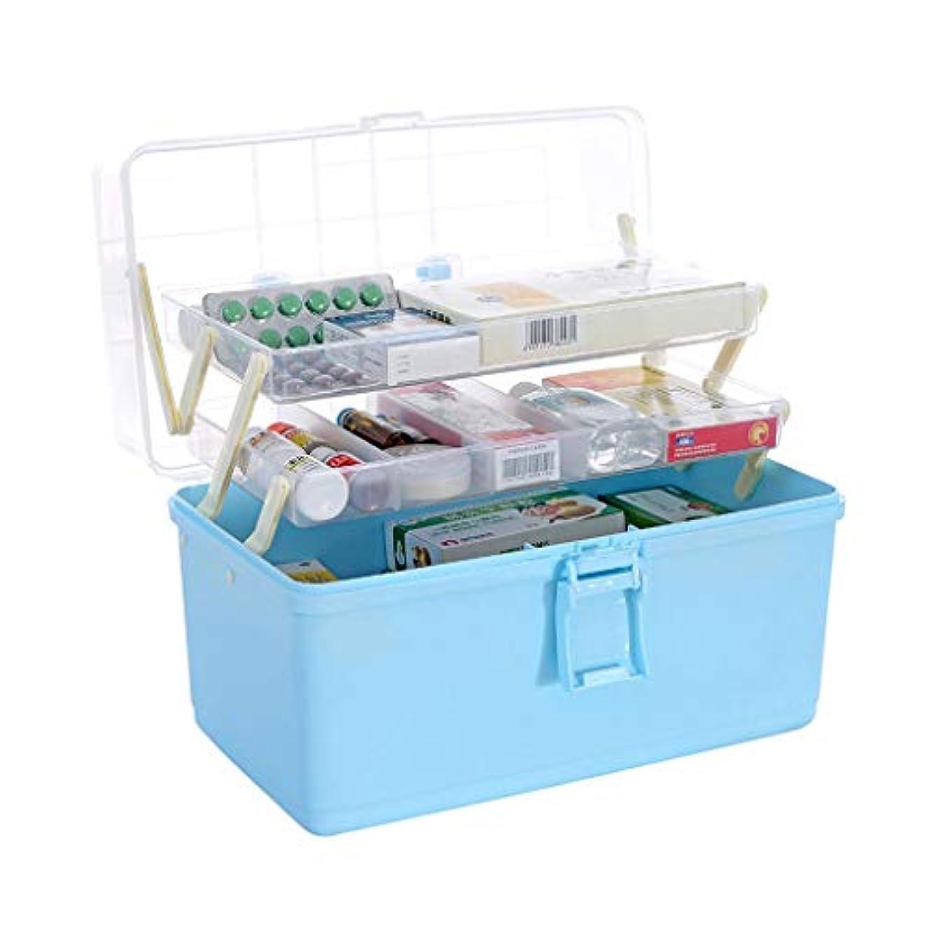 感謝祭余剰精査医院からの多層薬箱の家の大容量の医学の緊急時の薬の収納箱 HUXIUPING (Color : Blue)