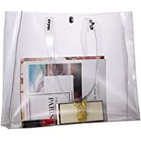 Louise Maelys Large Clear PVC Shoulder Bag Transparent Tote Bag Beach Bag Gift for Women
