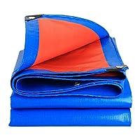 LXLA- 厚めの防水シート(アイレット付)日焼け止めシート防水シェードシェードクロスシェード - 160g /m²、青+オレンジ (サイズ さいず : 5m x 5m)