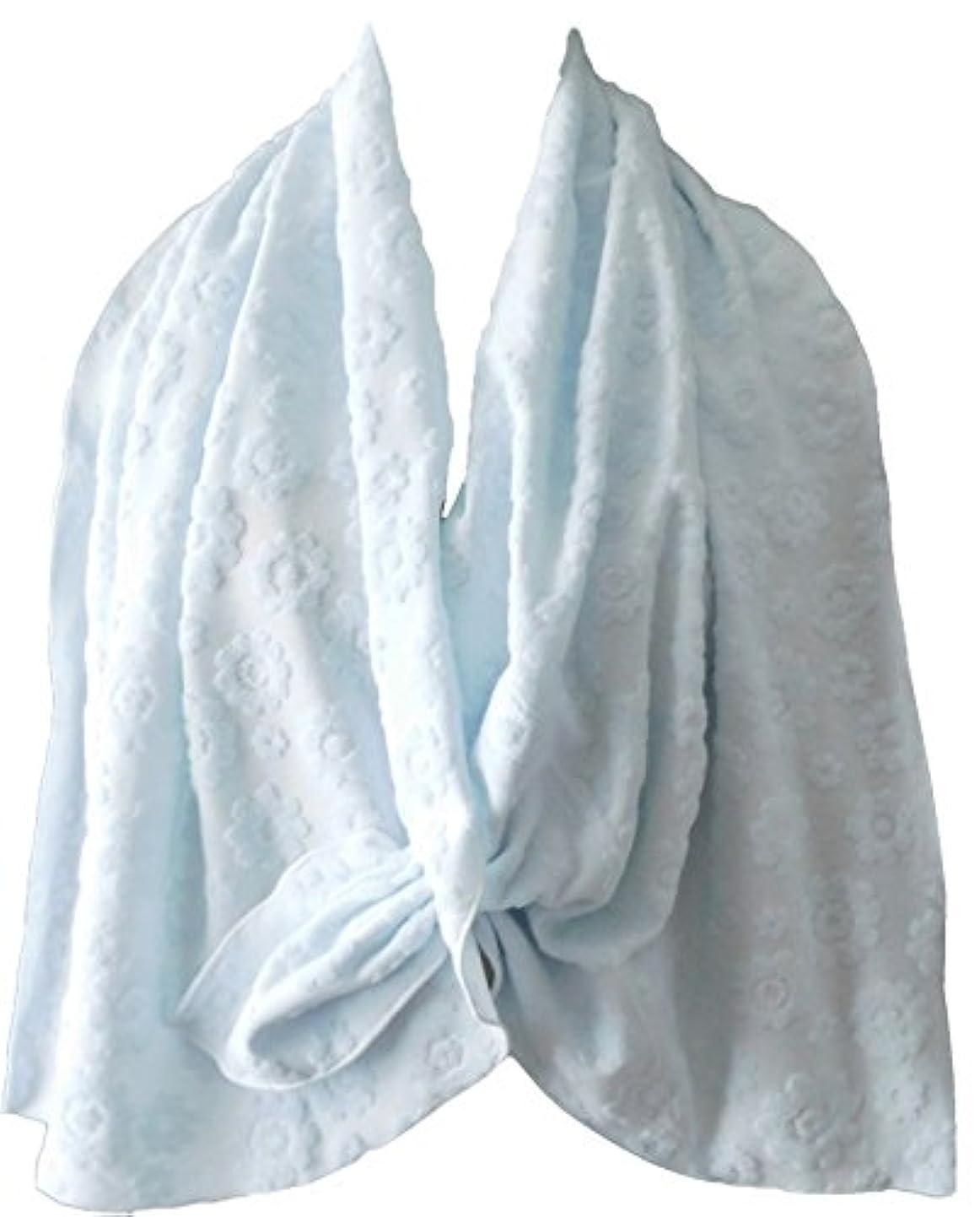 パウダー立法わかりやすい乳がん術後 温泉旅行に <温泉タオルン> 単品 ブルー 温泉タオル 巻きタオル ラップタオル プリンセスのんの