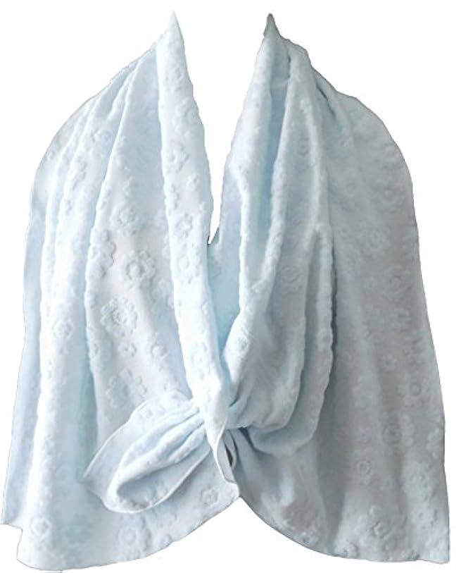 高いなに変化する乳がん術後 温泉旅行に <温泉タオルン> 単品 ブルー 温泉タオル 巻きタオル ラップタオル プリンセスのんの