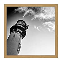Lightshouse Cloudy Sky Black White Photo Square Wooden Framed Wall Art Print Picture 16X16 Inch 光雲写真木材壁画像
