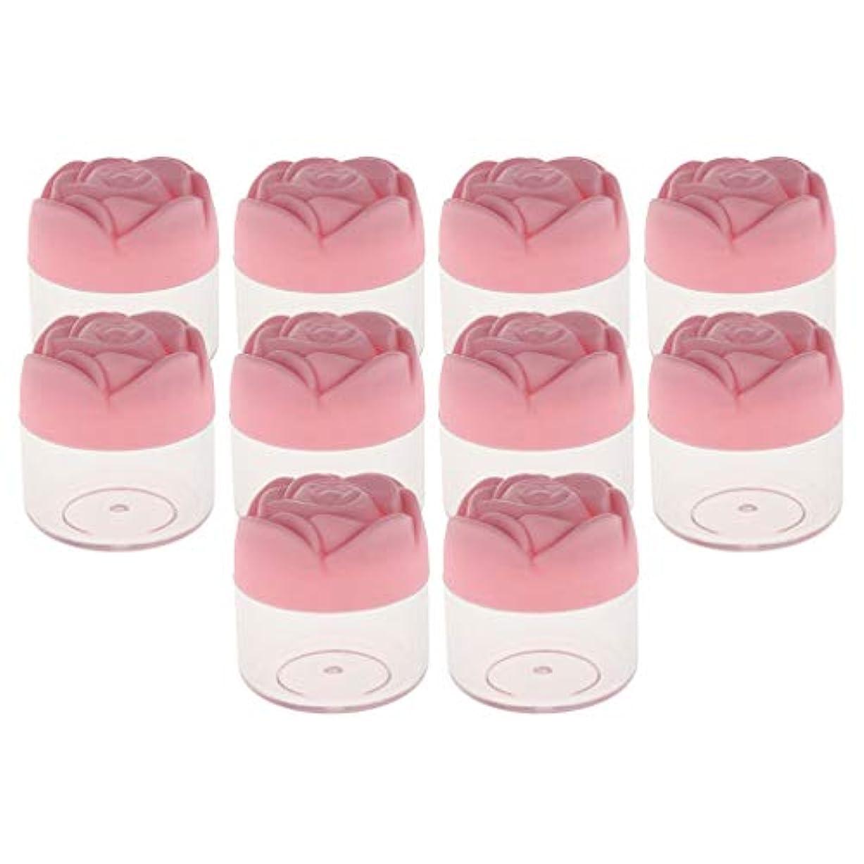 精査する実質的セラープラスチック 化粧品ケース クリーム ローション 収納容器 ジャーポット 20g バラの形 漏れ防止 10個