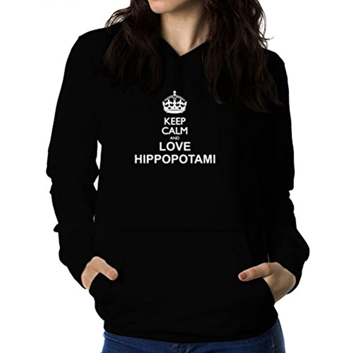 切断するペナルティ技術者Keep calm and love Hippopotamus 女性 フーディー
