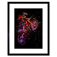 Electric Light Motocross Bike Framed Wall Art Print 電気の光自転車壁